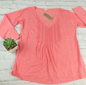 J Crew Pleated Coral Pink 3/4 Sleeve Top Shirt S